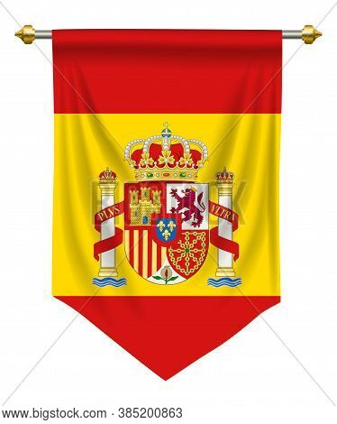 Spain Flag Or Pennant Isolated On White