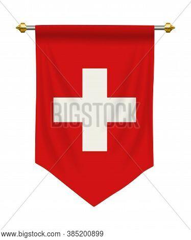 Switzerland Flag Or Pennant Isolated On White