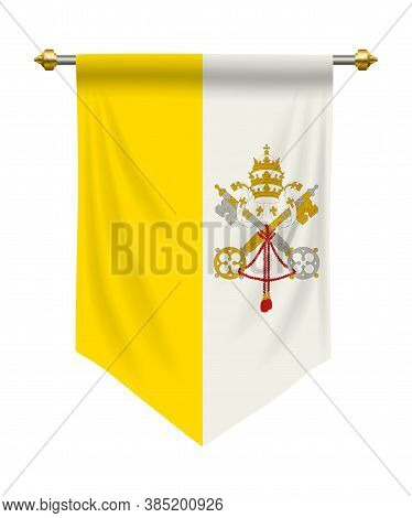 Vatican City Flag Or Pennant Isolated On White