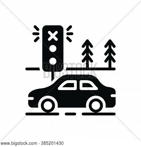 Black Solid Icon For Violate Contravene Breach Infringement Transgression Garage Traffic Light