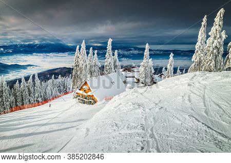 Well Known Winter Ski Resort With Slopes In Romania. Stunning Touristic And Winter Holiday Destinati