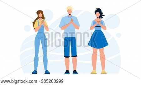 Honesty People Group With Hands On Chest Vector