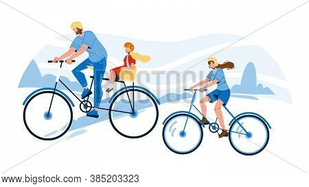 Bicyclists Family Riding Together In Park Vector