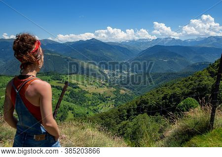 Young Woman Looking A Valley Aure In The French Pyrenees Mountains