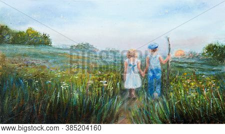 Original Oil Painting Showing Two Kids Holding Hands,boy And Girl Watching The Sunset Outdoors  On C