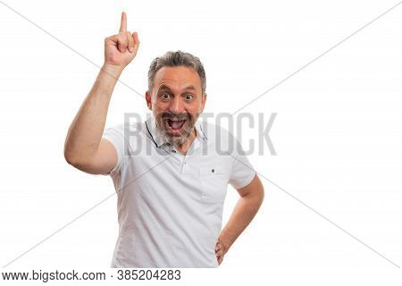 Excited Adult Man Smiling Making Thinking Of Idea Gesture Using Index Finger With Copy Text Area For