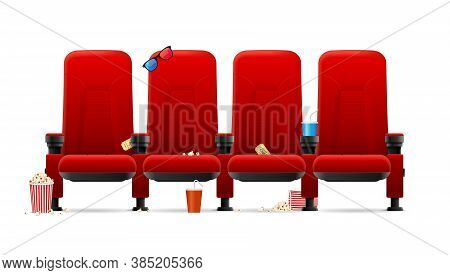 Realistic Detailed 3d Red Cinema Seats With Different Trash After Movie Screening. Vector Illustrati