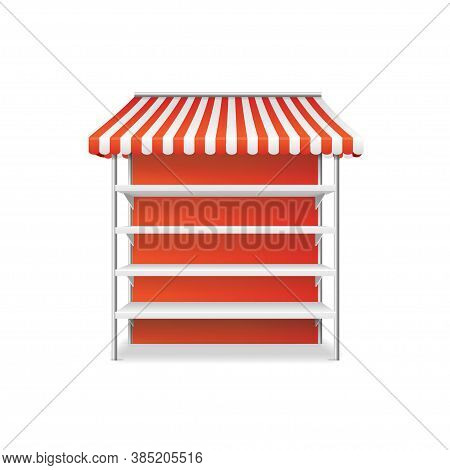 Realistic Detailed 3d Striped Shop Stall Template For Product On A White. Vector Illustration Of Rac
