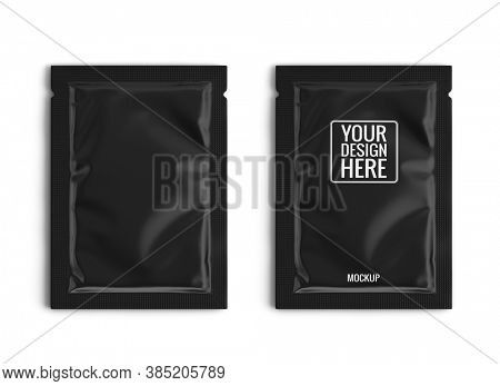 Blank black sachet packet isolated on white. Small pack sachet mockup. 3d rendering