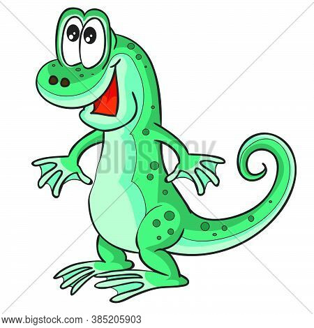 Cute Emerald Lizard Character, Cartoon Illustration, Isolated Object On White Background, Vector Ill