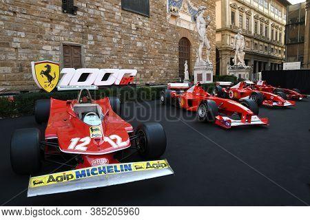 Florence, September 2020: Historic Ferrari 312 T4 Cars On Display During The Ferrari 1000 Gp Show In