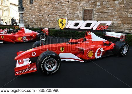 Florence, September 2020: Ferrari F2003 F1 On Display During The Ferrari 1000 Gp Show In Piazza Dell