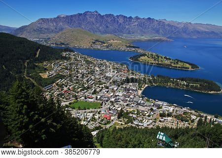 Queenstown / New Zealand - 25 Dec 2018: The View On Queenstown From The Cable Car, New Zealand