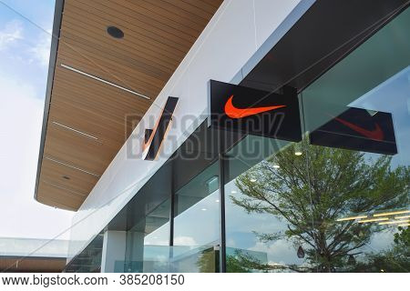 Samut Prakan, Thailand - July 28, 2020: Nike Shop In Siam Premium Outlets Bangkok. Nike Is One Of Th