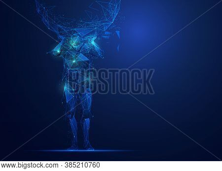 Graphic Of Atlas (god Of Strength) In Polygonal Form With Futuristic Elements