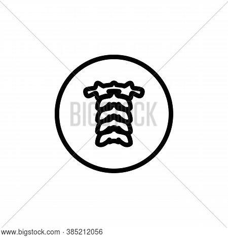Spine Linear Icon. Vector Minimal Illustration Of Cervical Spine With Atlas Vertebra. Design Templat