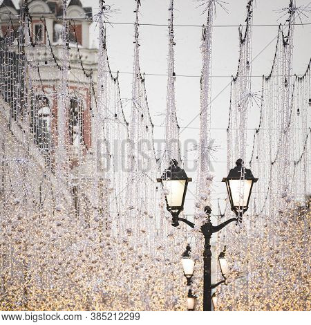 Christmas Decorations In The Center Of New Years Moscow. A Large Number Of Lanterns And Garlands On