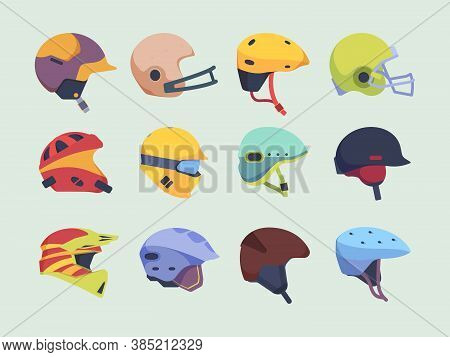 Safety Sport Helmet. Head Accident Protection Items Race Motorbike Hockey And Paintball Helmet Vecto