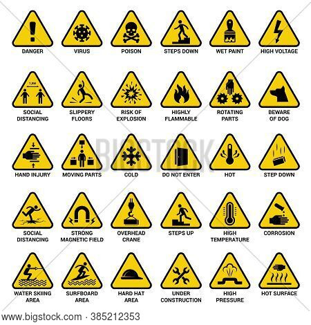 Triangle Warning Sign. Danger Symbols Safety Emergency Electrical Hazard Vector Collection. Illustra