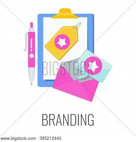 Branding Icon. Company Logo On A T-shirt, Flyers, Envelope. Corporate Identity. Outbound Marketing.