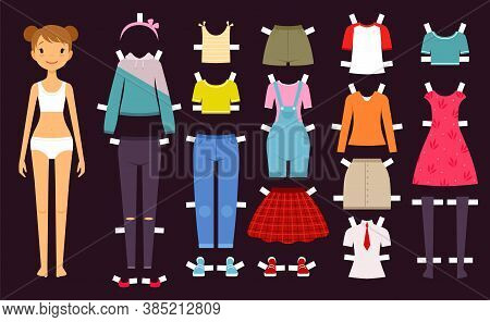Paper Doll. Cute Toys Female Doll With Various Wardrobe Clothes Fashion Girls Vector Illustration. D