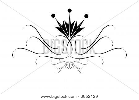 Ornamental swirls over white background with stylized flower poster