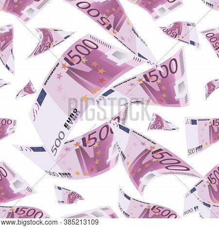Euro Bills. Cash Flow. Money Pattern. Falling Money Isolated On White Background. 500 Euro Bill
