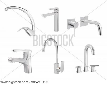 Water Chrome Tap. Kitchen Tools Plumbing Accessories Vector Realistic Collection Pictures Of Aqua Ta
