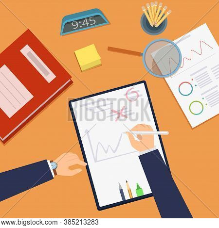 Deadline Concept. Office Work Desk Top View. Strategy Planning, Business Investment Vector Concept.