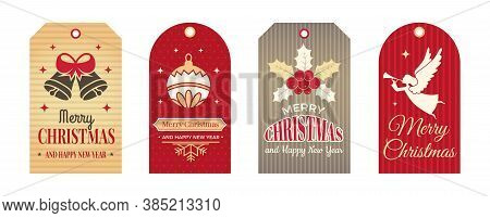Festive Tags. Winter Christmas Labels, Art Badges For Craft Or Scrapbooking. Xmas And New Year Decor