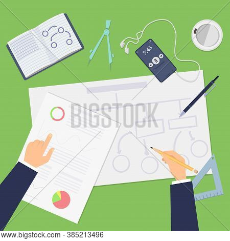 Planning. Agile Concept, Top View Business Plan Or Startup Project. Hands Drawing Financial Schemes
