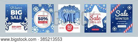 Winter Sale Flyers. Promo Cards, Season Discount Banners. Christmas Or New Year Shopping Banners Vec