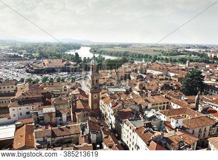 aerial view of casale monferrato, piemonte, italy