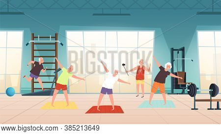 Elderly In Gym. Happy Seniors, Active Lifestyle Old People. Man Woman Training, Doing Yoga Running V