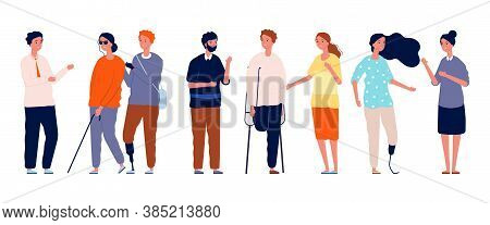People Together. Different Person Characters, Socialization Of Disabled Man Woman. Crowd Friends Vec