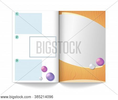 Magazine Mock Up Template. Empty Book With Areas For Advertising Or Information, Realistic Journal V