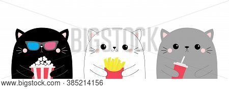 Cat Set. Cute Cartoon Funny Character. Popcorn, French Fries, Soda. Cinema Theater. Film Show. Kitte