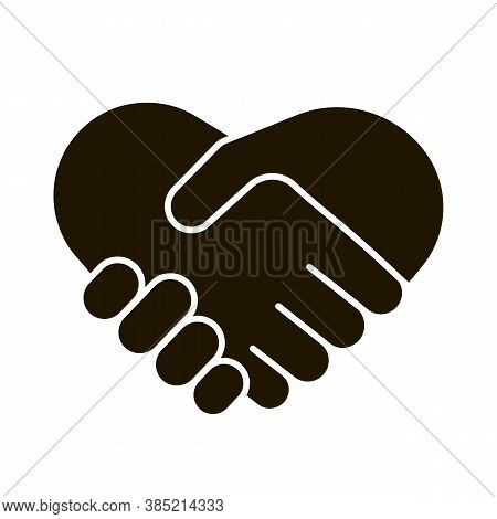 Business Handshake Icon, Contractual Agreement, Line Art. Hands Shake, Heart And Help Symbol. Sign C