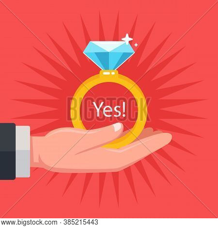 Make A Wedding Proposal To Your Future Wife. Give A Diamond Ring. Flat Vector Illustration.