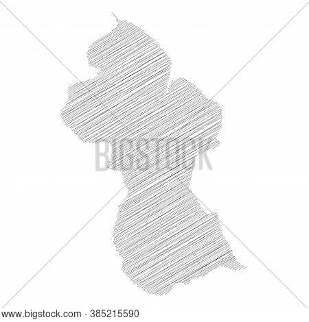 Guyana - Pencil Scribble Sketch Silhouette Map Of Country Area With Dropped Shadow. Simple Flat Vect