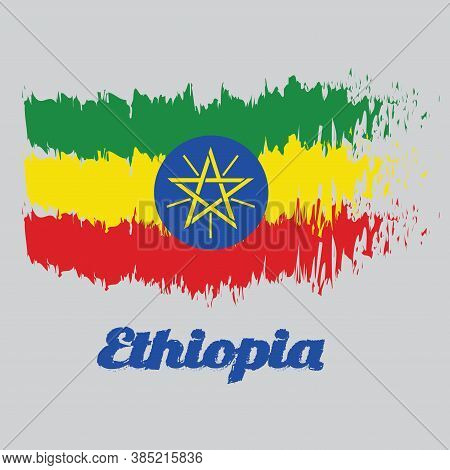 Brush Style Color Flag Of Ethiopia, Tricolor Of Green, Yellow And Red With The National Emblem. With