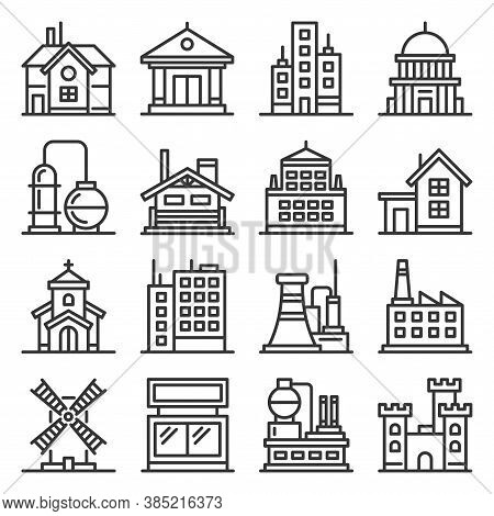 Building Icons Set. Goverment, Industrial And Live Construction. Vector