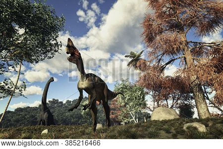 Dinosaurus In The Jungle . This Is A 3d Render Illustration .