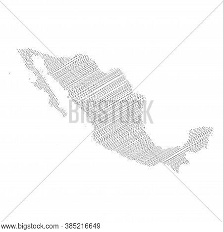 Xxx- Pencil Scribble Sketch Silhouette Map Of Country Area With Dropped Shadow. Simple Flat Vector I
