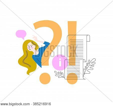 Frequently Asked Questions Concept With Question Sign, Confused Girl Wondering What To Do Cartoon Fl