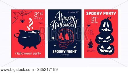 Collection Of Halloween Party Flayer, Poster ,card, Design Template. Vector Flat Cartoon Style Illus
