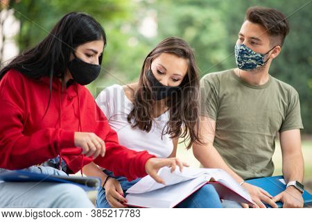 Group of students studying outdoor in park near school, college or university