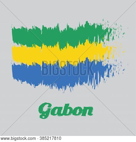 Brush Style Color Flag Of Gabon, A Horizontal Triband Of Green, Gold And Blue. With Name Text Gabon.