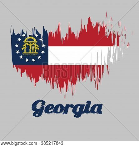 Brush Style Color Flag Of Georgia, Three Stripes Consisting Of Red, White, Red. A Blue Canton Contai