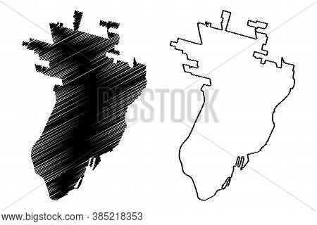 Santa Fe City (argentine Republic, Santa Fe Province) Map Vector Illustration, Scribble Sketch City